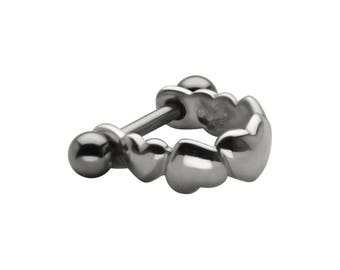 316L Surgical Steel Ear Cartilage Helix Tragus Stud Earring Ring Jewelry Heart Cuff Shield 16G