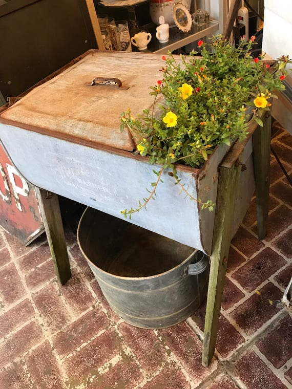 Galvanized Metal Washing Machine from Farm w Drain Spout