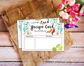 Fiesta Recipe Card, Bridal shower recipe card, Mexican Bridal Shower recipe card, mexican fiesta recipe, Mexican Fiesta Bridal Shower