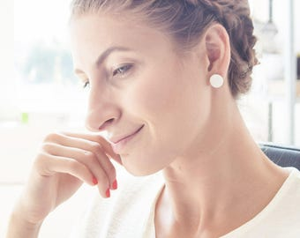 Ceramic Earrings, Porcelain Jewelry, White Stud Earrings, Ceramic Studs, White Earrings, Flat Earrings, Minimal Earrings, Round Stud Earring