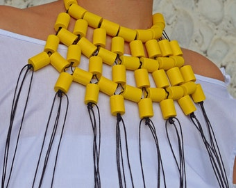 Yellow Extravagant Necklace / Yellow Wood Necklace / Fantasy Beads with Waxed Cotton Thread TLJ37