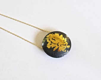 Oxidised silver and gold Keum Boo pendant