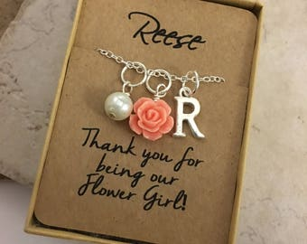 Flower Girl Necklace Rose Necklace Vintage Rose Flower Girl Jewelry Personalized Initial Necklace Bridal Party Jewelry Bridesmaids Jewelry