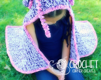 Hooded Unicorn Blanket, handmade crochet blankets with characterised hood MADE TO ORDER