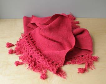 Vintage Pink Shawl, Handwoven Bright Pink Serape, Pink Boho Wrap