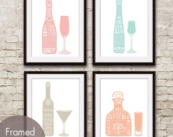 Champagne, Ice Wine, Vodka and Tequila (Top Shelf Alcohol Series B) Set of 4 - Art Prints (Featured in Assorted Colors) Alcohol Bar Art
