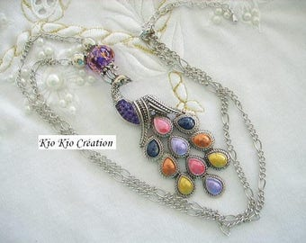 Necklace, necklace, silver, multicolored Peacock pendant, glass bead and acrylic, extension chain, women, girl's fashion accessory