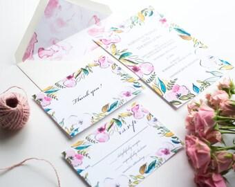 Watercolor Wedding Invitation kit - Customizable