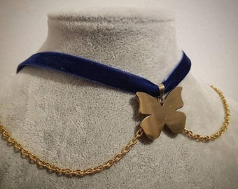 Golden Stainless Steel Butterfly Choker with Blue Velvet