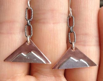 Sterling Silver and Copper Mountain Triangle Earrings