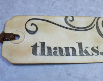 Thank You Vintage Gift Tags - 4 Medium Tags - Vintage Style Gift Tags - Ink Distressed and Hand Strained