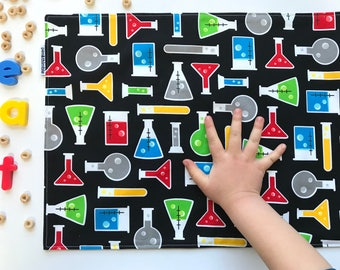 Kids Place Mat (STEM Kids Gift, Science Placemat, Beakers and Test Tubes, Montessori School, Waterproof Placemat, Cloth Placemat)