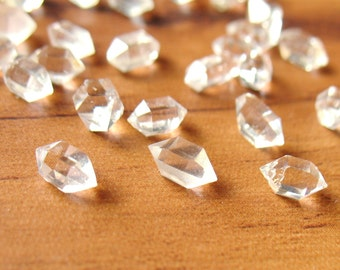 Natural Herkimer Diamond Quartz Crystal 6mm to 15mm Water Clear Undrilled- 10 Pcs Random Selection