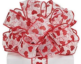 1.5 x 5 yards- Sheer Valentine print ribbon, Valentine ribbon, valentine ribbons, valentines day ribbon, Happy Valentines Day Ribbon