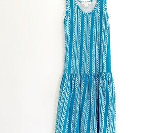 1980's Abstract Print Drop Waist Cotton Sun Dress Size XS