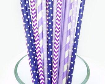 Purple Party Decrations - Purple Bridal Shower Decoration - Party Supplies - Purple Baby Shower - Purple Paper Straws - Graduation Party