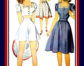 Vintage 1940s-PIN-UP PLAYSUIT-Sewing Pattern-Kittenish Crop Top-Square Neckline-Embroidery -Flared Shorts-Gathered Skirt-Size 16-Rare