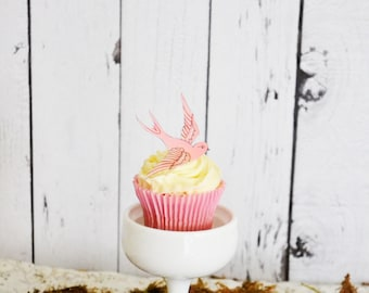 EDIBLE Pink Sparrows - Cake & Cupcake toppers - Food Decorations