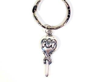 Lollipop Key Chain, Candy KeyChain, Retro Candy Keyring, Sucker Gifts, Silver Jewelry, Pewter Best Friends Keychain, BFF for Girlfriend her
