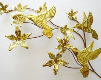 Hummingbird & Flower Branch Wall Hanging, Vintage Gold Tin and Copper Home Interiors