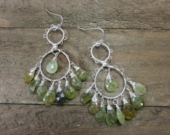 Green Garnet Chandelier Earrings, Gypsy Earrings