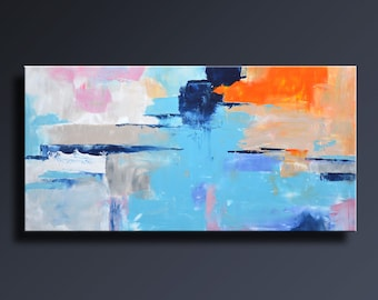 ABSTRACT PAINTING Blue Orange Gray White Painting Original Canvas Art Contemporary Abstract Modern Art 48x24 wall decor #20C