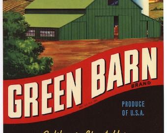 1950s Green Barn Farm Farming Original Crate Label Danny Danenberg CA Veggie