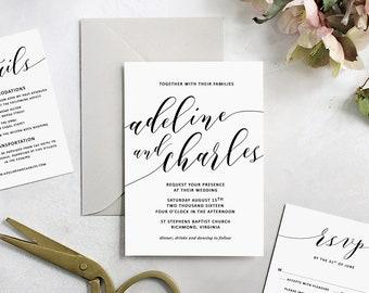 Printable wedding invitation calligraphy invitation suite printable wedding invitation made to order header script invitation template customizable digital template stopboris Choice Image