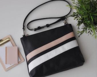 LAURA BAG borsa tracolla, borsa in pelle, borsa pelle nera, tracolla in pelle, borsa piccola in pelle