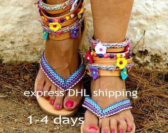 "bohemian gladiator sandals/ boho sandals/ ethnic leather sandals/ strappy sandals/  hippie sandals/ flip flops/colorful sandals"" MARGARITA"""