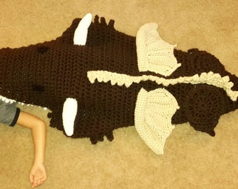 Dragon Tail Blanket - cocoon - unique gift - Christmas - birthday - crochet - knit