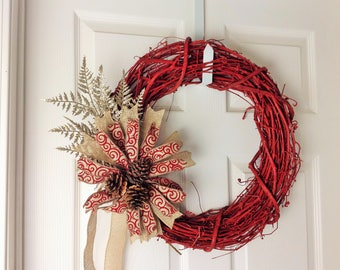 Rustic Christmas Wreath Red Christmas Wreath Christmas Wreaths for Front Door Handmade Christmas Decoration