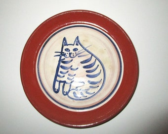 Ceramic Cat Dish - Artisan Vintage Handcrafted with Handprinted Cat Design - Terra Cotta with Blue and White Glazes