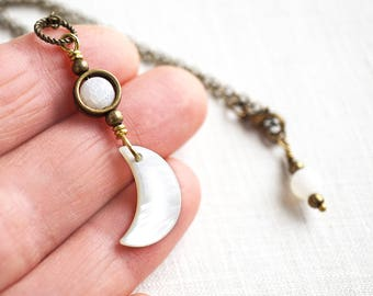 Mothers Day Gift Celestial Half Moon Necklace Shell Crescent Moon Necklace White Crystal Frosted Raw Stone Necklace Natural Stone Necklace