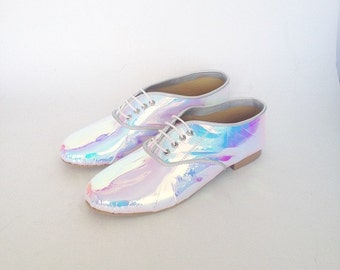 Mirrored Pony Oxfords Iridescent vegan faux leather (Handmade to order)