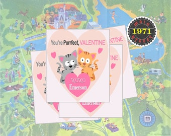 You're Purrfect, Valentine! with kittens Personalized Valentine's Day Card School Valentine for Kids Digital Download PRINTABLE
