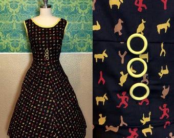 Vintage 1950s Dress - Glyph Novelty Print Day Dress - S
