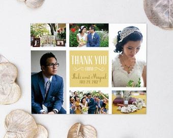Wedding Photo Thank You Card Collage - Six Photographs - Custom Personalized Printable Wedding Thank You Postcard Design