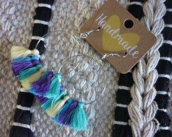 Earrings creoles silver color with tassels ibiza style pastel