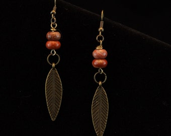 Handcrafted jewelry, Antique bronze earrings, Jasper earrings