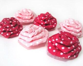 Magenta and Light Pink Polka Dot Rose Drops - (6)