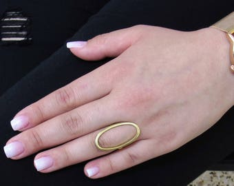 Open Ring In Sterling Silver, Fashion Ring, Summer Ring, Modern Ring, Silver Ring, Oval Ring, Gold Ring