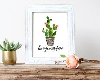 Love Grows Here Cactus Watercolor Girl Nursery Art (598)