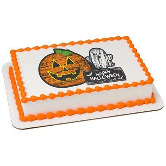 Pumpkin & Ghost Halloween Birthday - Edible Cake and Cupcake Topper For Birthdays and Parties! - D24068