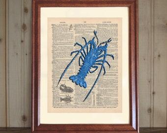 Lobster Dictionary Print, 3D Lobster Print, Blue Lobster Drawing, Lobster Wall Art, Seafood Art Decor, Nautical Print, Blue Lobster Print