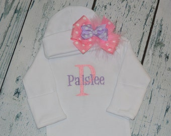 Personalized Baby Gown and Cap with Bow Monogrammed Coming Home Outfit