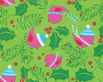 Free Spirit - Merry Xmas - Jolly Holly - Bright by David Walker - PWDW127.OBRIG - 100% cotton fabric - Fabric by the yard(s)