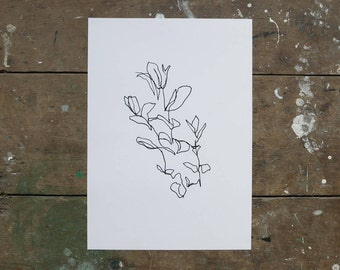A3 Print 'Sweet Basil'. UK Made. Printed in Cornwall on 100% Recycled Paper, Off White