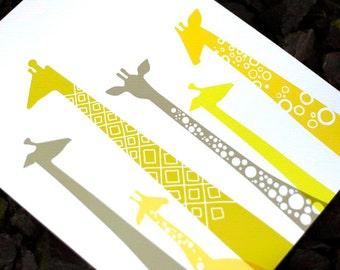 "8X10"" modern giraffe silhouettes giclee print on fine art paper. chartreuse, gray, yellow. portrait format."