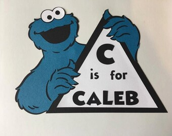 Personalized Sesame Street Cookie Monster Sign. You pick name. Great for Birthday's. Free Shipping